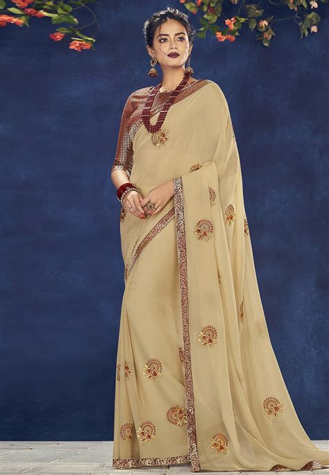 Buy Beige Georgette Saree With Blouse 181488 with blouse