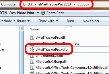 Manually installing the eMailTrackerPro Outlook 2010 plug-in