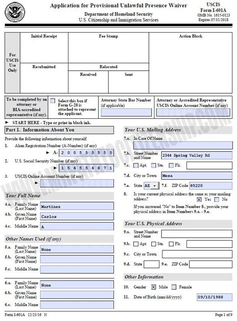 How To Fill Out I-601A Provisional Waiver For Unlawful