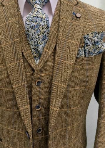 MEN'S BROWN CHECK TAILORED FIT 3 PIECE TWEED SUIT PERFECT